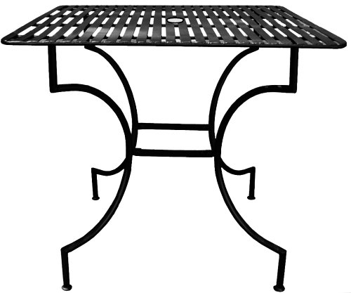 PTC Home & Garden Park Square Table with 2-Inch Umbrella Holder, Black by PTC