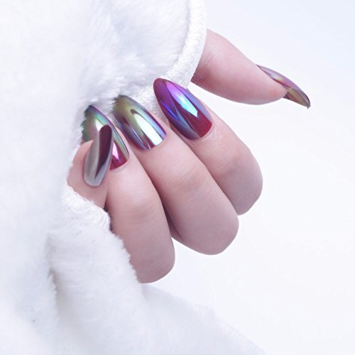 24Pcs Elegant Wine Red Christmas Year Fake Nails Press On Nail Artificial Nail Tips With Glue Sticker Faux Ongles Unhas Gift JMA0010055HE129 ()