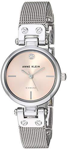 Anne Klein Women's Genuine Diamond Dial Silver-Tone Mesh Bracelet Watch, AK/3003LPSV