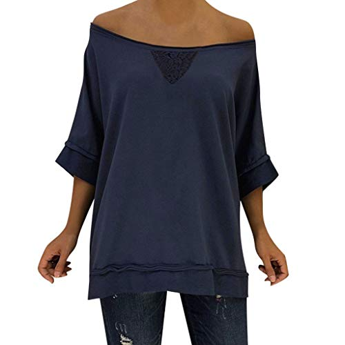(YOcheerful Women Tops Solid Sexy Lace Patchwork V-Neck Loose 1/2 Sleeve Tops Casual Blouse(Dark Blue,)