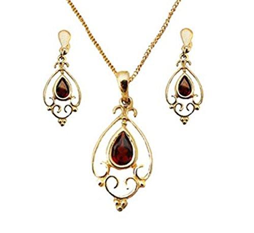 Austral Jewellery - 9Ct Or Jaune Réel Grenat Larme Goutte Coffret Pendentif, Boucles D'Oreilles Et De La Chaîne - Gemme De Naissance Janvier