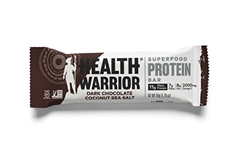 HEALTH WARRIOR Superfood Protein Bars, Dark Chocolate Coconut Sea Salt, Plant-Based Protein, 50g bars, 12 ()