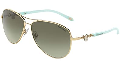 c1e9efce974 Amazon.com  Tiffany   Co Aviator TF3034 60213M Gold Metal Green 60 ...