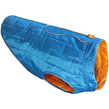 Kurgo Loft Dog Jacket and Reversible Dog Coat, Blue / Orange, Large