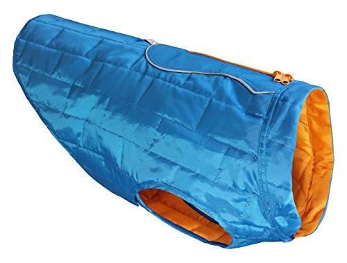 (Kurgo Loft Jacket, Reversible Dog Coat, Dog Coat for Cold Weather, Water-Resistant Dog Jacket with Reflective Trim, Blue/Orange, Large)