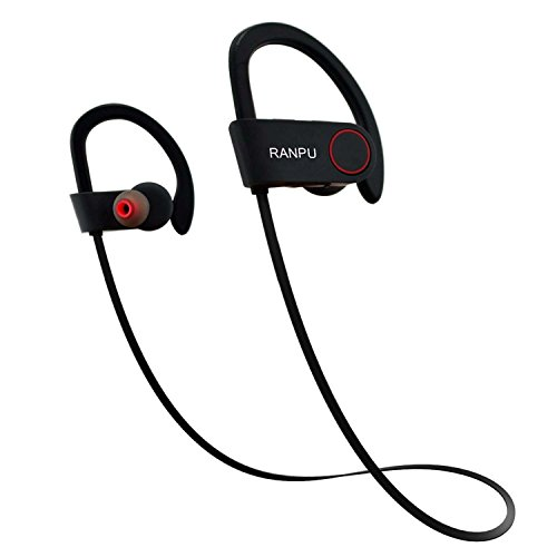 RANPU Bluetooth Headphones, Best Wireless Sports Earphones with Mic IPX7 Waterproof HD Stereo Sweatproof Earbuds for Gym Running Workout 8 Hour Battery Noise Canceling Headsets