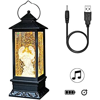 DRomance Lighted Water Lantern Glittering with Music USB and Battery Operated Singing Snow Globe for Kids, Angel Water Snow Glitter Globe Lantern Decor for Christmas,12 Inch Tall