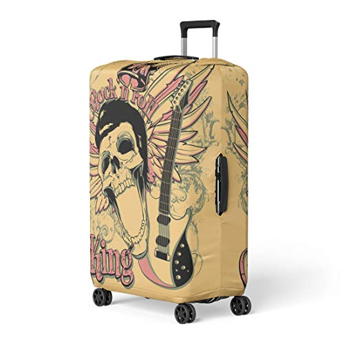 Semtomn Luggage Cover Skull Rock and Roll King Artistic Star Vintage Acoustics Travel Suitcase Cover Protector Baggage Case Fits 18-22 Inch -