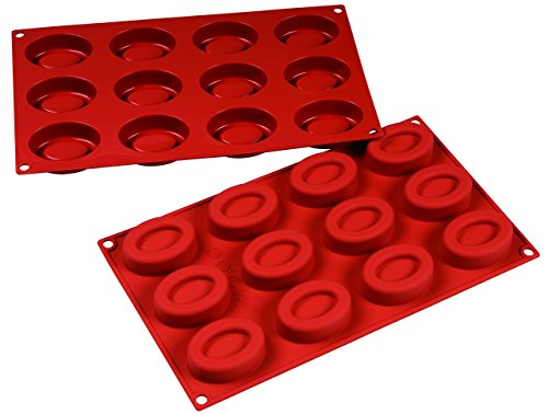 Silicone Oval Savarin Mold 12 Cavity with Hole - by Silicone-Bakeware by Silicone Bakeware