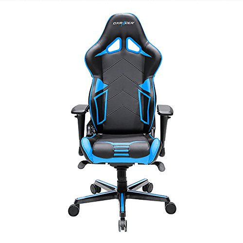 DXRacer Racing Series DOH/RV131/NB Office Chair Gaming Chair Carbon Look Vinyle Ergonomic Computer Chair Esports Desk Chair Executive Chair Furniture with Free Cushions (Black/Blue)