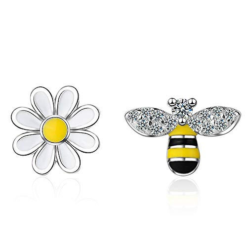 CZ Bee Daisy Flower Asymmetric Sterling Silver Stud Earrings for Women Teen Girls Kids Sensitive Ear Fashion Tiny Animal Cute Piercing Post Hypoallergenic 2019 ()