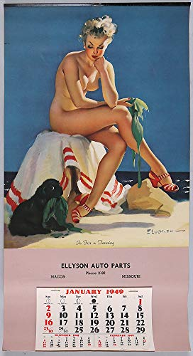 Vintage 1949 Original Gil Elvgren Nude Pin-Up Bathing Beauty Advertising Calendar Antique Art Deco Collectible Titled In For A Tanning
