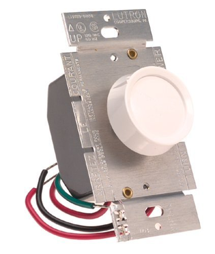 (Lutron Electronics D603-PH-WH Incandescent Push On/Off 3-Way Rotary Dimmer Switch by Lutron)