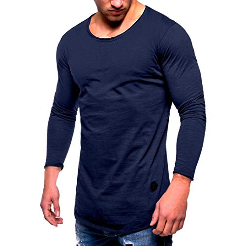 AKIMPE Men Tee Slim Fit O Neck Long Sleeve Muscle Cotton Casual Tops Blouse Shirts ()