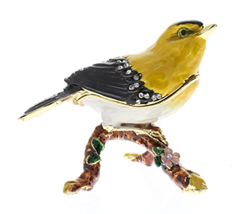 Gold Finch Bird on Branch Trinket Box, Clear Swarovski Crystal, Yellow Black Enamel Over Pewter, Inside of Box with Lovely Enamel, L 3.00 x H 2.75 x W 2.00