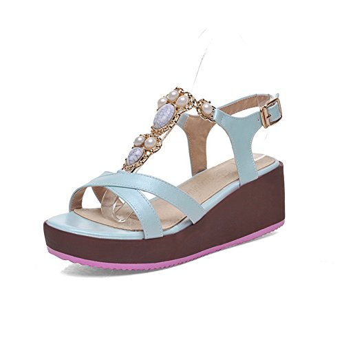 AmoonyFashion Womens Open-Toe Buckle PU Solid Kitten-Heels Sandals Blue HkZOfxGTV