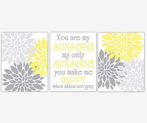 Yellow Gray Flower Burst Dahlia Mums Modern Floral You Are My Sunshine Baby Girl Nursery Decor SET OF 3 UNFRAMED PRINTS ()