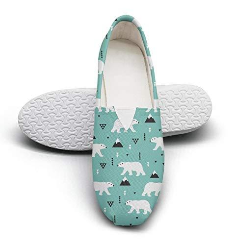 (HappyWomen Blue Polar Bear Stand Fairytale Princess Women's Comfort Flat Slip on Shoes Ladies Espadrille Flats)