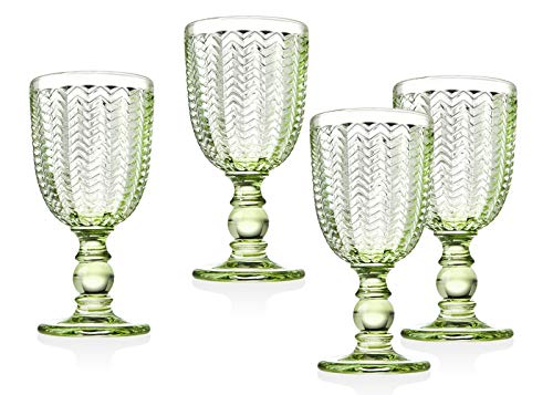 Green Glass Goblet - Twill Red Wine Goblet Beverage Glass Cup by Godinger - Emerald Green - Set of 4