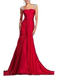 Artie 2018 Red Trumpet Strapless Chiffon Evening Dresses
