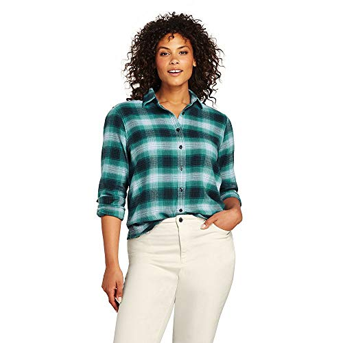 Lands' End Women's Plus Size Flannel Shirt, 18W, Teal Green Plaid