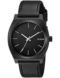 Nixon Men's 'Time Teller' Quartz Stainless Steel and Leather Casual Watch, Color:Black (Model: A045756-00)
