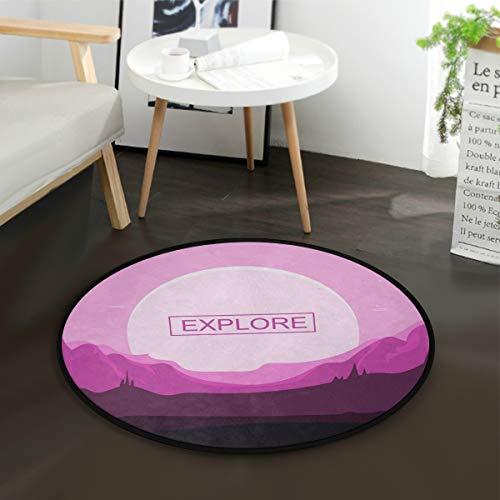 - Modern Round Door Mat Floor Mat Carpet Anti Slip Children Bedroom Play On Rug Computer Chair Mat Children's Room Play Crawling Mat Home Textile Sunset