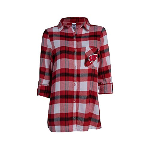 Concept Sport Wisconsin Badgers Womens Long Sleeve Team Pride Flannel Button Up - Red, Womens Medium ()
