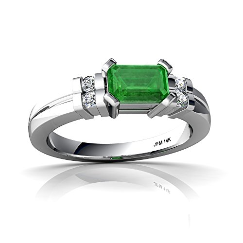 14kt White Gold Emerald and Diamond 6x4mm Emerald_Cut Art Deco Ring - Size 7 14kt Gold 6x4 Emerald