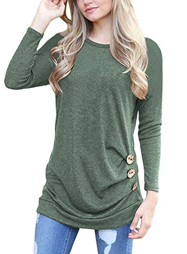Women's Fashion Long Sleeve Round Neck Solid Loose Tops Green L