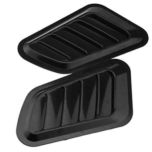 Pair Of Auto Car Decorative Air Flow Intake Scoop Black Vent Hood Bonnet Side -
