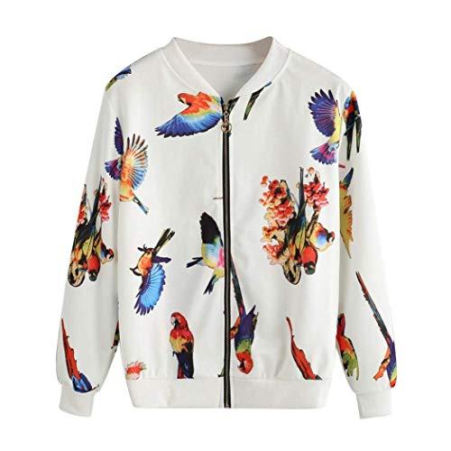 Giacca Manica Mehrfarben Mode Pilot Casuale Stampato Outdoor Cappotto Uccello Coreana Donna Fashion Primaverile Autunno Eleganti Lunga Collo Marca Bomber Outerwear Di rgfpxg