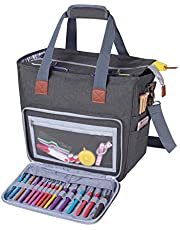 Luxja Knitting Tote Bag, Yarn Storage Bag for Carrying Projects, Knitting Needles, Crochet Hooks and Other Accessories
