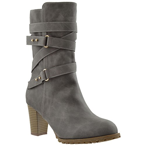 KS & CO Womens Mid Calf Boots Strappy Buckle Accent Stacked Heel...
