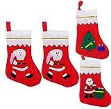 MBODM Christmas Sock Gift Bags 4Pcs Candy Bags Santa Snowman Decoration Accessories (Random)