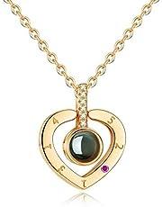 سلسلة عنق ارايفال للنساء من الفضة الاسترلينية على شكل قلب عيار 925، 100 لغة، بكلمة احبك