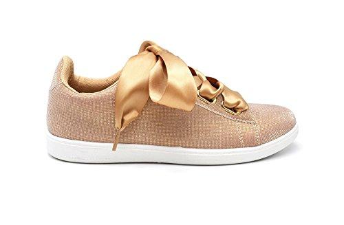 et Lumière Semelle Effet Sneakers Toile Satin Tennis Réfléchissant Ruban My SHY54 3D Shop Champagne avec Oh Blanche Baskets wvqaZ1AwX7