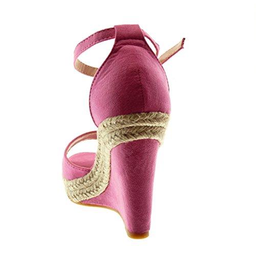 Sandale Femme CM Lanière Lanière Fuschia Plateforme Mule Cheville Angkorly 11 Corde Peep Chaussure Mode Talon Toe Plateforme compensé EawqWxzUAS