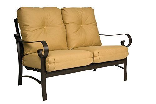 Woodard  Belden Cushion Loveseat, Hammered White, Volt (Sunbrella White Sand Cushion)