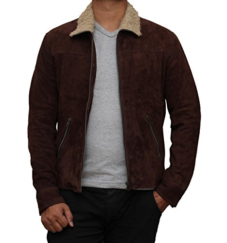 The Walking Dead Rick Grimes Suede Leather Jacket Costume (M, Brown)