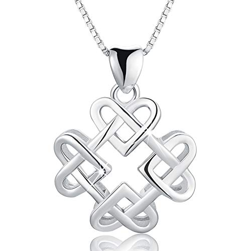 Esberry 18K Gold Plated 925 Sterling Silver Endless Love Vintage Celtic Knot Pendant Necklace Hollow Pendant with Necklaces for Girls and Women (White Gold)