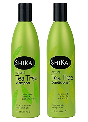 - ShiKai - Natural Tea Tree Oil Shampoo & Conditioner Set, Made With Essential Oils Of Peppermint & Tea Tree To Refresh & Stimulate Hair & Scalp, Soap-Free Alternative (12 Ounces Each)