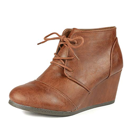 Shoes Heels Tan Leather Wedge (DREAM PAIRS TOMSON Women's Casual Fashion Outdoor Lace Up Low Wedge Heel Booties Shoes   TAN PU 7 B(M) US)