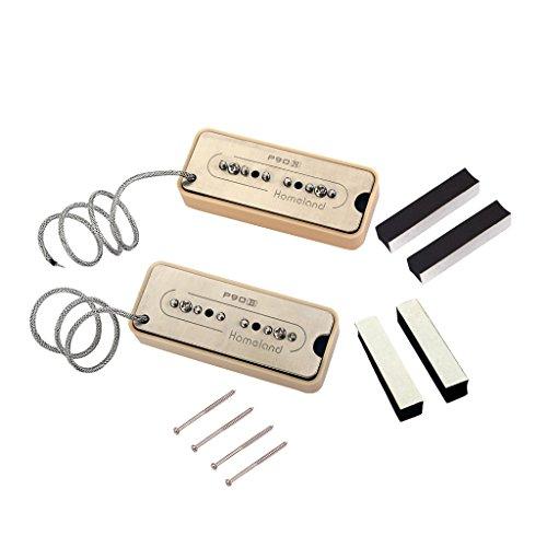 non-brand MagiDeal 2 Pieces P90 Soap Bar Humbucker Pickups Neck&Bridge for Electric Guitar Replacement - (Coil Soap Bar Humbucker)