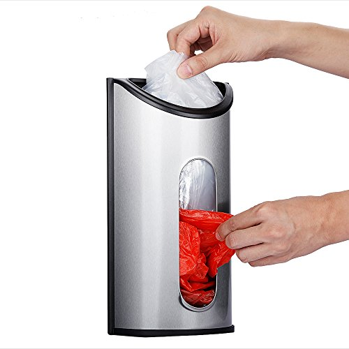 Magdisc Wall Mount Grocery Bag Holder,Dispenser,Saver with Extra-Wide & Easy-access Openings,Anti-Fingerprint Brushed Stainless Steel Finish,Mounting Screws ()