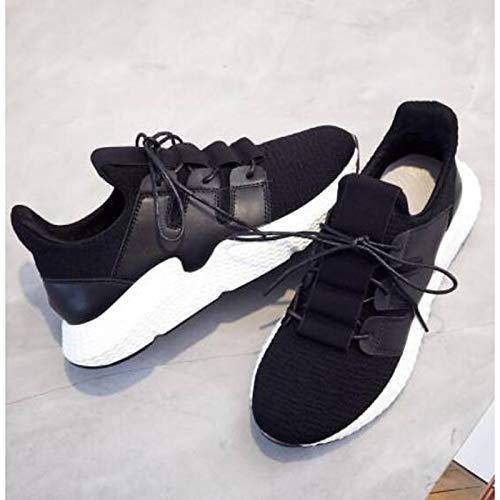 ZHZNVX Zapatos de Mujer Mesh Summer Comfort Sneakers Flat Heel Round Toe Black Black