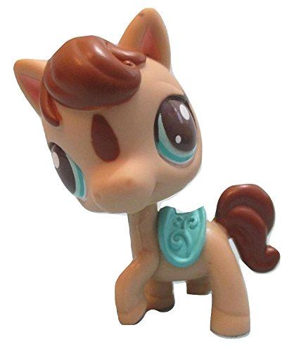 (Littlest Pet Shop Brown and Tan Mama Horse Pony with Brown and Aqua Green Eyes and Aqua Teal Saddle #2666 LOOSE/Packaged in Parts Bag)
