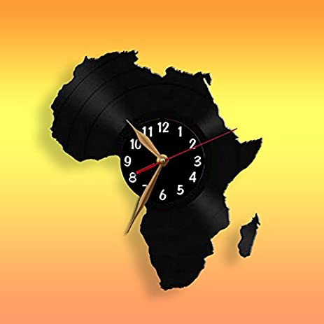 Amazon africa map wall clock vinyl record clock 12 inch 30cm africa map wall clock vinyl record clock 12 inch 30cm laser cut gumiabroncs Images