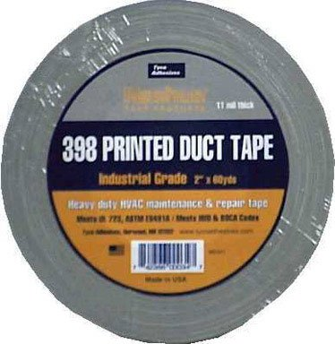 Tyco 398NP Printed Duct Tape, 200 Degree F Performance Temperature, 60 yds Length x 2