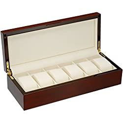 Diplomat Mahogany Wood 6 Watch Storage Case with Cream Interior